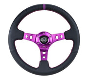 NRG Steering Wheel - Reinforced Black Suede with Purple center mark and purple stitching
