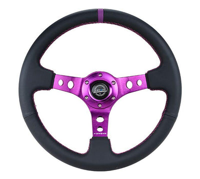NRG Steering Wheel - Reinforced Black Leather with Purple center mark and purple stitching - Lowered Lifestyle