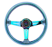 NRG Steering Wheel - Reinforced Matsuri 350mm with Blue Acrylic and Neochrome finish