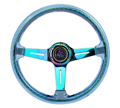 NRG Steering Wheel - Reinforced Matsuri 350mm with Blue Acrylic and Neochrome finish - Lowered Lifestyle