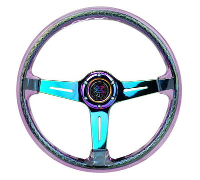 NRG Steering Wheel - Reinforced Matsuri 350mm with Purple Acrylic and neochrome finish