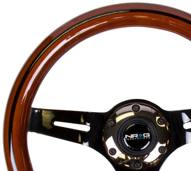 NRG Steering Wheel - Dark Wood 310mm with black chrome spokes and black line inlay - Lowered Lifestyle