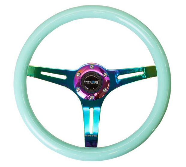 NRG Steering Wheel - Wood 350mm with neochrome spokes and mint paint