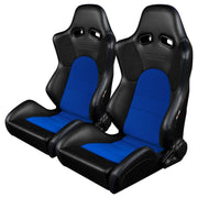Braum Advan Series Sport Seats - Black Leatherette / Blue Insert (PAIR) - Lowered Lifestyle