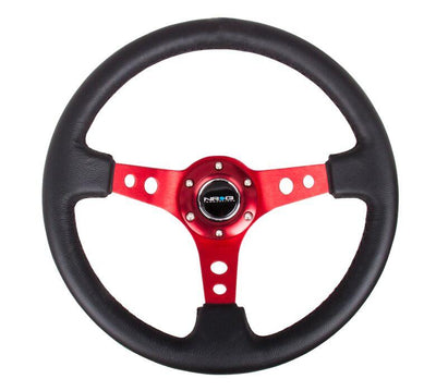 NRG Steering Wheel - Reinforced Red Spoke with Round holes and Black Leather