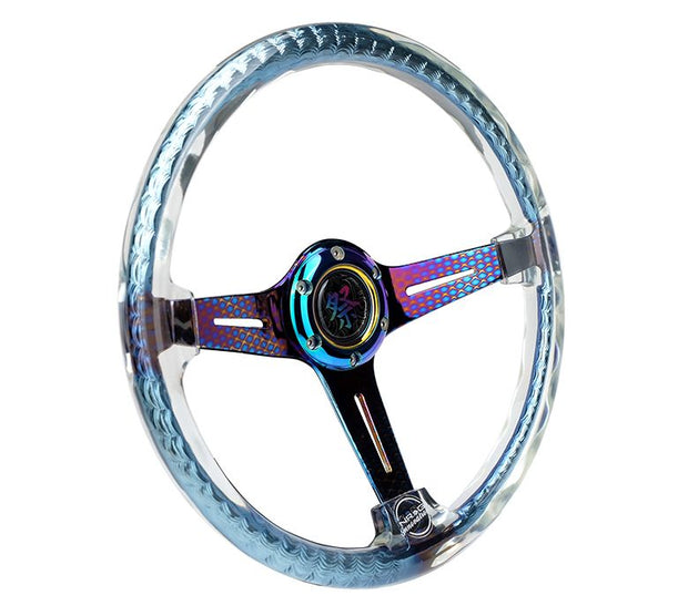 NRG Steering Wheel - Reinforced Matsuri 350mm with Clear Acrylic and Geometric NeoChrome finish