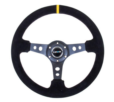 NRG Steering Wheel - Reinforced Suede Black Stitch with Yellow Center Mark - Lowered Lifestyle