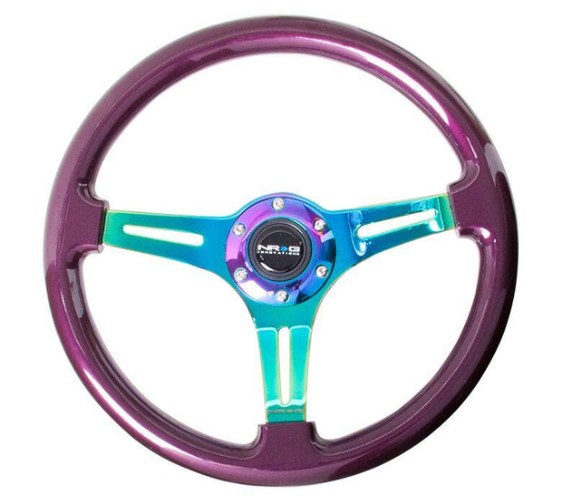 NRG Steering Wheel - Wood 350mm with neochrome spokes and purple pearl paint - Lowered Lifestyle