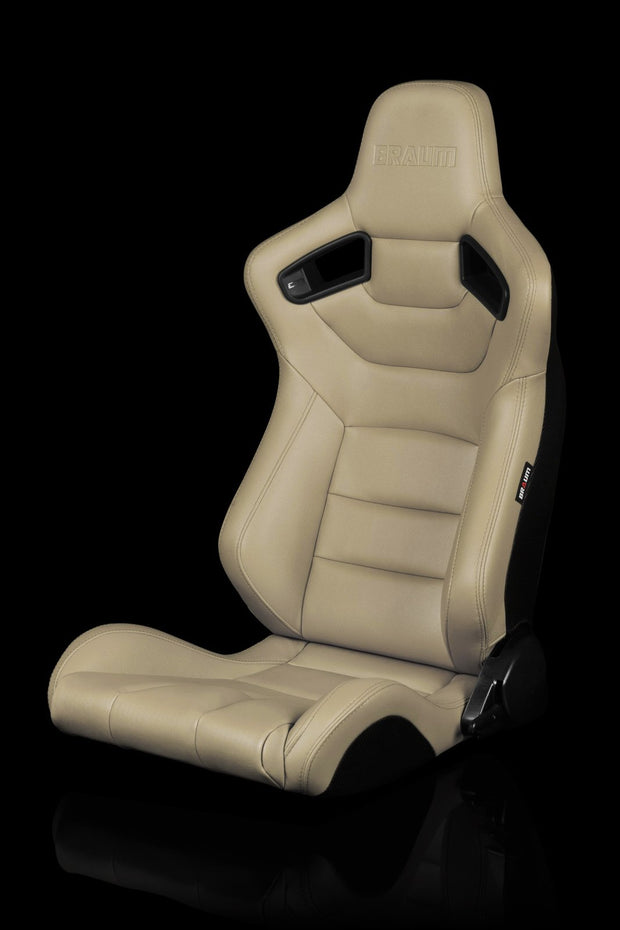 Braum Elite Series Sport Seats - Beige Leatherette (PAIR) - Lowered Lifestyle
