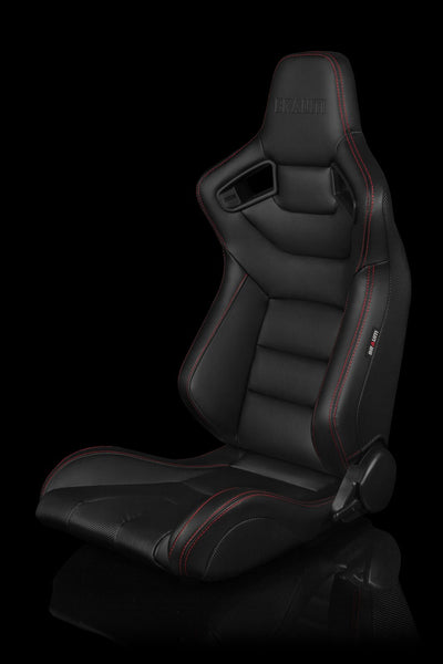 Braum Elite Series Sport Seats - Black Leatherette / Red Stitching (PAIR)