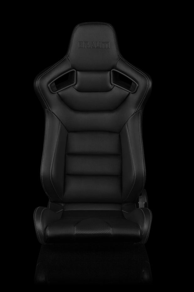 Braum Elite Series Sport Seats - Black Leatherette / White Stitching (PAIR)