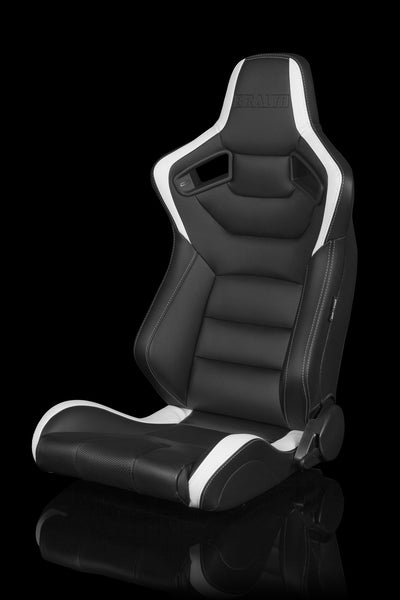 Braum Elite Series Sport Seats - Black / White Leatherette (PAIR)