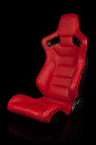 Braum Elite Series Sport Seats - Red Leatherette / Black Stitching (PAIR)