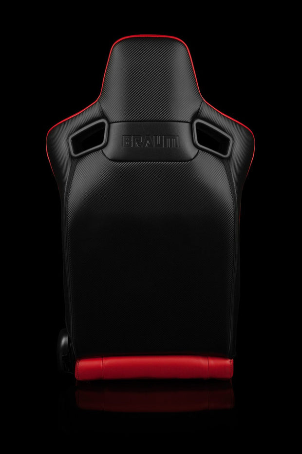 Braum Elite Series Sport Seats - Red Leatherette / Black Stitching (PAIR) - Lowered Lifestyle