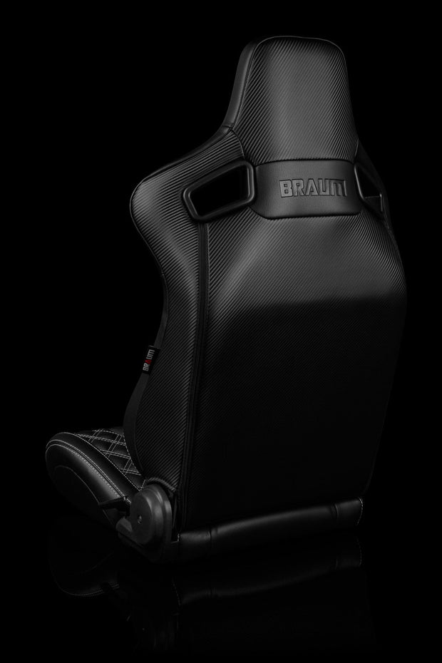 Braum Elite-X Series Sport Seats - Black Diamond / Grey Stitching / Black Piping (PAIR)
