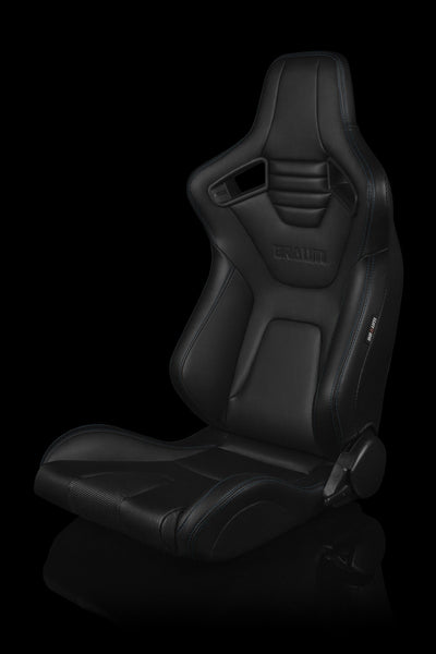 Braum Elite-X Series Sport Seats - Black Leatherette / Blue Stitching (PAIR)