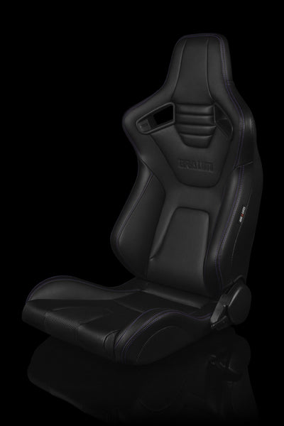 Braum Elite-X Series Sport Seats - Black Leatherette / Purple Stitching (PAIR)