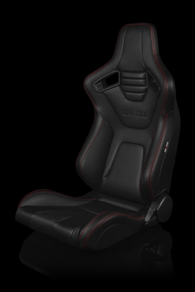 Braum Elite-X Series Sport Seats - Black Leatherette / Red Stitching (PAIR) - Lowered Lifestyle