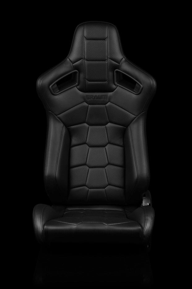 Braum Elite-X Series Sport Seats - Komodo / Black Leatherette / Black Stitching (PAIR) - Lowered Lifestyle
