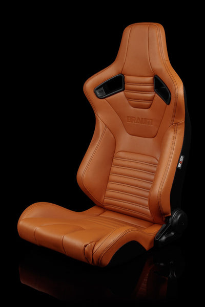 Braum Elite-X Series Sport Seats - British Tan Leatherette / Black Stitching (PAIR) - Lowered Lifestyle