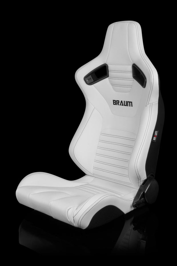 Braum Elite-X Series Sport Seats - White Leatherette / Black Stitching (PAIR) - Lowered Lifestyle