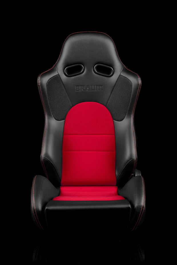 Braum Advan Series Sport Seats - Black Leatherette / Red Insert (PAIR) - Lowered Lifestyle
