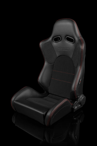 Braum Advan Series Sport Seats - Black Leatherette / Red Stitching (PAIR) - Lowered Lifestyle