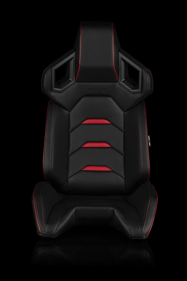 Braum Alpha-X Series Racing Seats - Black & Red (PAIR) - Lowered Lifestyle