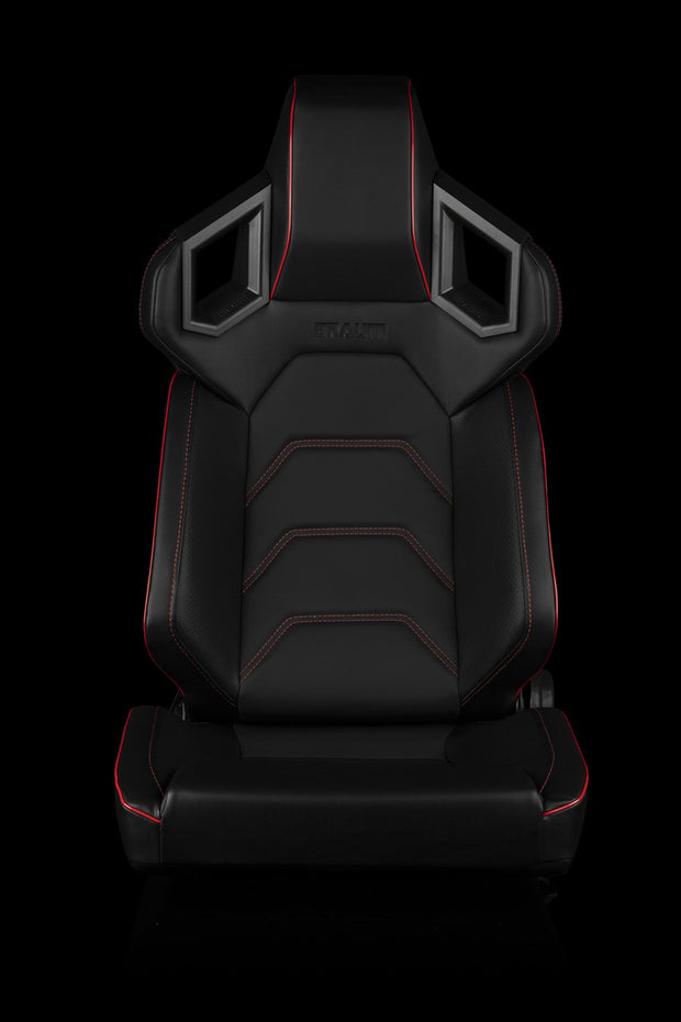 Braum Alpha-X Series Racing Seats - Red Stitching / Low Base Version (PAIR) - Lowered Lifestyle