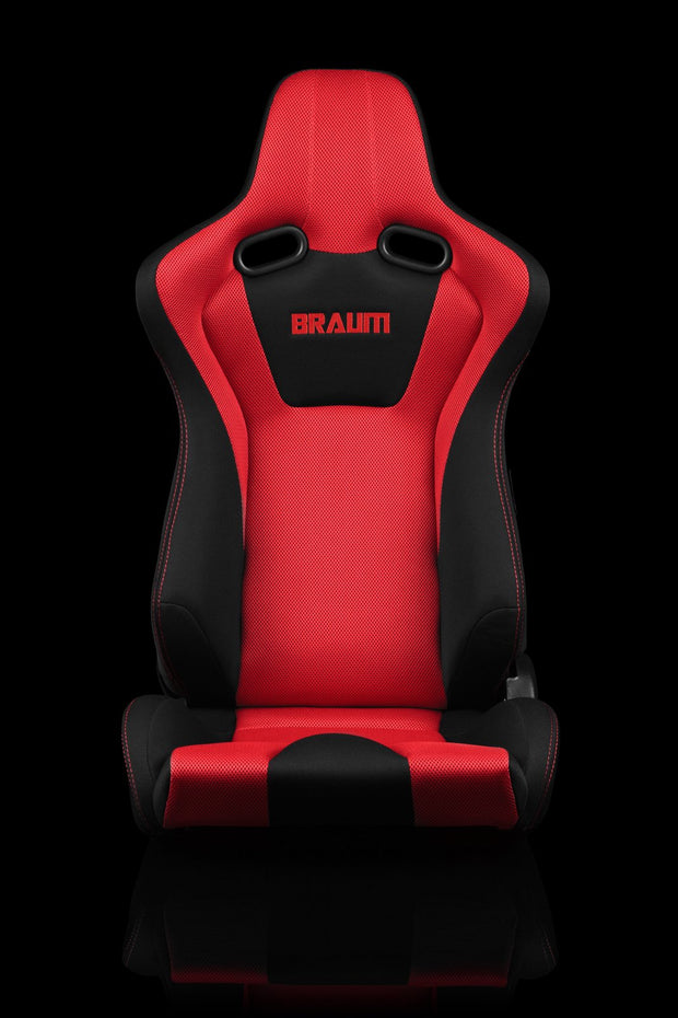 Braum Venom Series Sport Seats - Black and Red Cloth / Red Stitching (PAIR) - Lowered Lifestyle