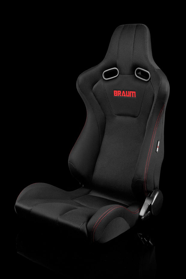 Braum Venom Series Sport Seats - Black Cloth / Red Stitching (PAIR)