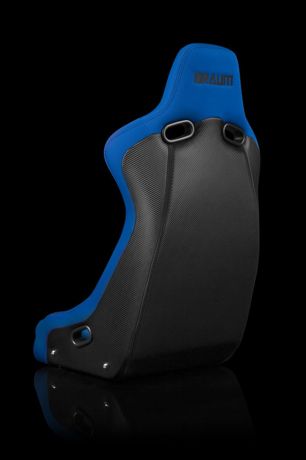 Braum Venom-R Series Fixed Back Bucket Seat - Blue Cloth / Carbon Fiber - Lowered Lifestyle