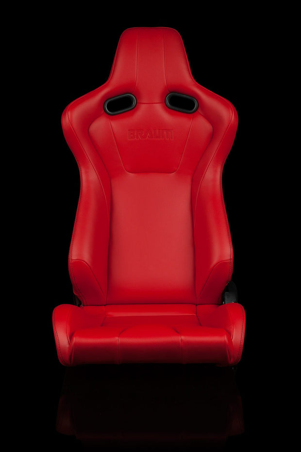 Braum Venom Series Sport Seats - Red Leatherette (PAIR) - Lowered Lifestyle