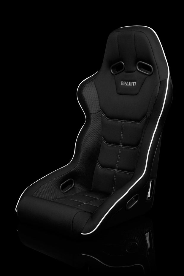 Braum Falcon X Series FIA Approved Fixed Back Racing Seat / Black Polo Cloth / White Stitching / White Piping - Lowered Lifestyle