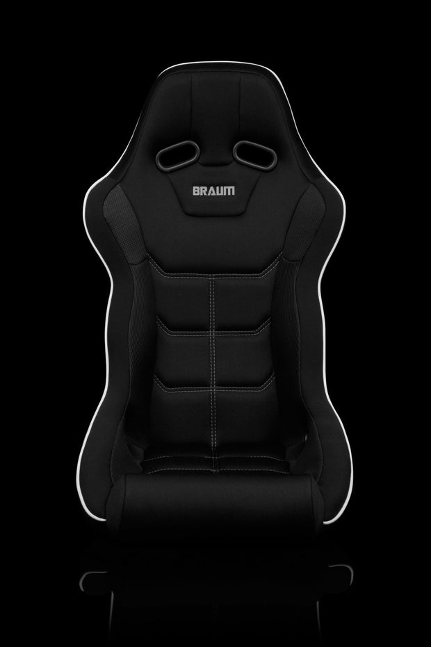 Braum Falcon X Series FIA Approved Fixed Back Racing Seat / Black Polo Cloth / White Stitching / White Piping
