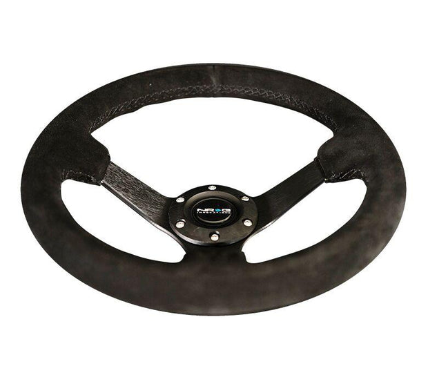 NRG Steering Wheel - Reinforced 330mm Sport Suede Comfort Grip with black spokes and stitching