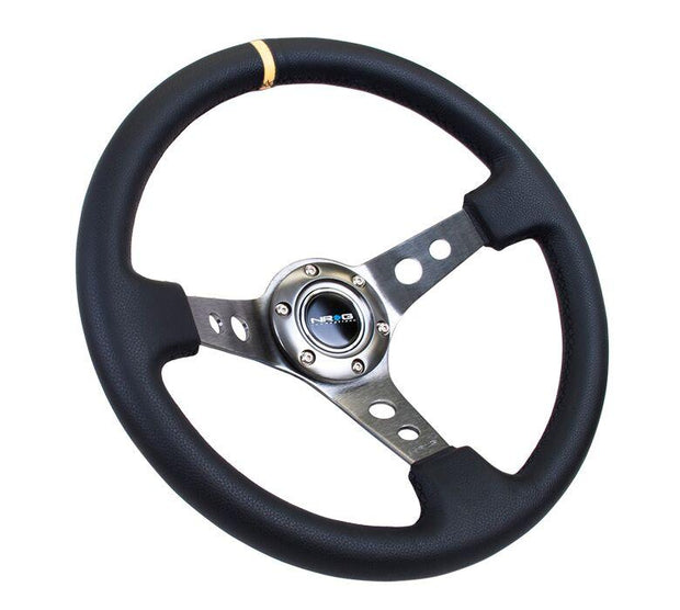 NRG Steering Wheel - Reinforced Gun Metal Spoke with Round holes and Black Leather with yellow stripe - Lowered Lifestyle