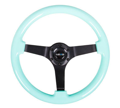 NRG Steering Wheel - Reinforced wood 350mm with black spokes and mint grip - Lowered Lifestyle