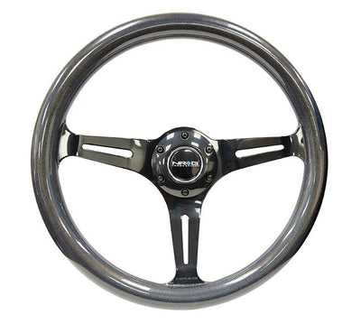NRG Steering Wheel - Wood 350mm with black spokes and chameleon pearlescent painted grip
