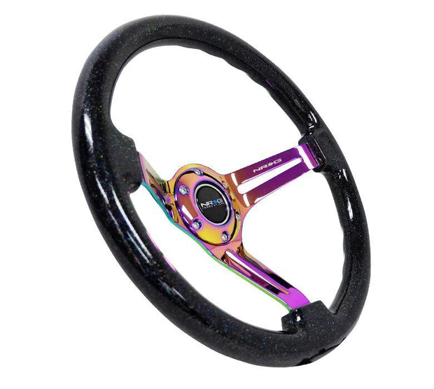 NRG Steering Wheel - Reinforced Wood 350mm with neochrome spokes and black sparkle grip