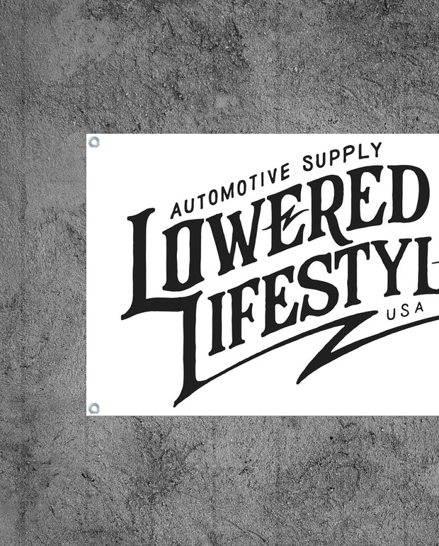 Garage Banner – Signature Logo - White and Black
