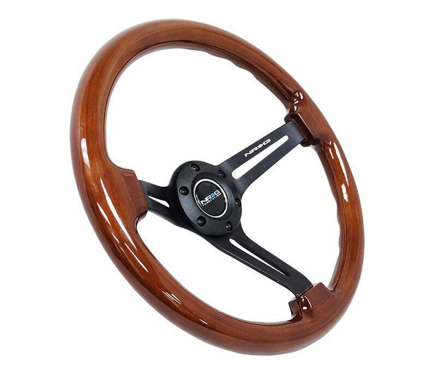 NRG Steering Wheel - Reinforced Wood 350mm with black spokes and brown grip