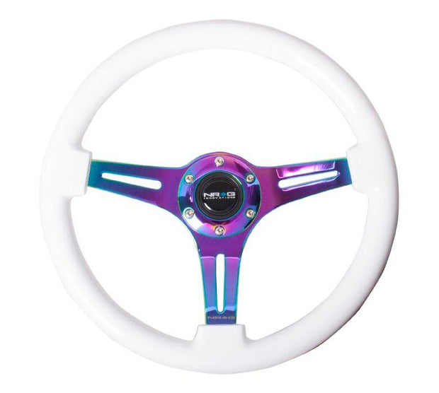 NRG Steering Wheel - Wood 350mm with neochrome spokes and white painted grip