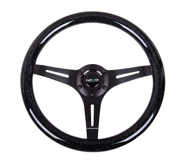 NRG Steering Wheel - Wood 350mm with black spokes and black sparkle paint