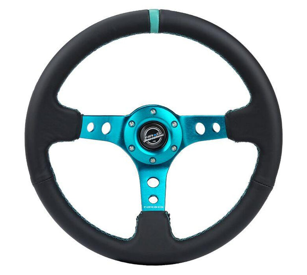 NRG Steering Wheel - Reinforced Black Leather with teal spokes and center mark