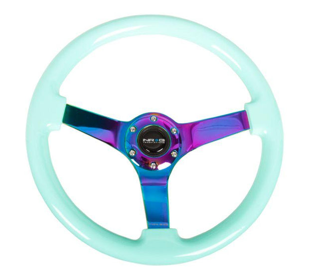 NRG Steering Wheel - Reinforced wood 350mm with neochrome spokes and mint grip