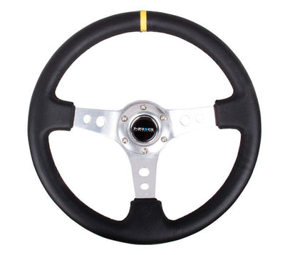 NRG Steering Wheel - Reinforced Silver Spokes with Round holes and Black Leather with yellow stripe