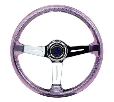 NRG Steering Wheel - Reinforced Matsuri 350mm with Purple Acrylic and chrome finish - Lowered Lifestyle