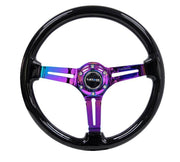 NRG Steering Wheel - Reinforced Wood 350mm with neochrome spokes and black paint