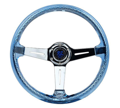 NRG Steering Wheel - Reinforced Matsuri 350mm with Blue Acrylic and Chrome finish - Lowered Lifestyle